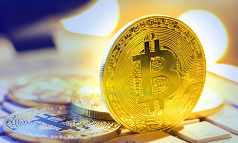 Bitcoin gold, Cryptocurrency stack coins virtual digital currency for financial banking.